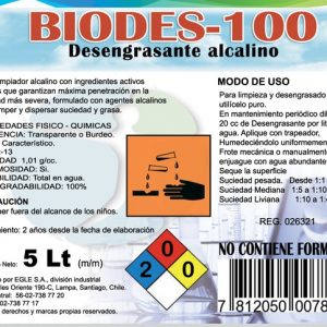 Desengrasante industrial concentrado BIODES-100 Bidón 5 Litros