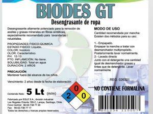 Desmanchador de grasa y aceites para telas BIODES G-T Bidón 5 Litros