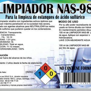 Limpiador y neutralizador para estanques de ácidos, NAS-98 Bidón 5 Litros