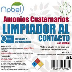 Amonios Cuaternarios. Limpiador al contacto base alcohólica USO INDUSTRIAL 5 Litros