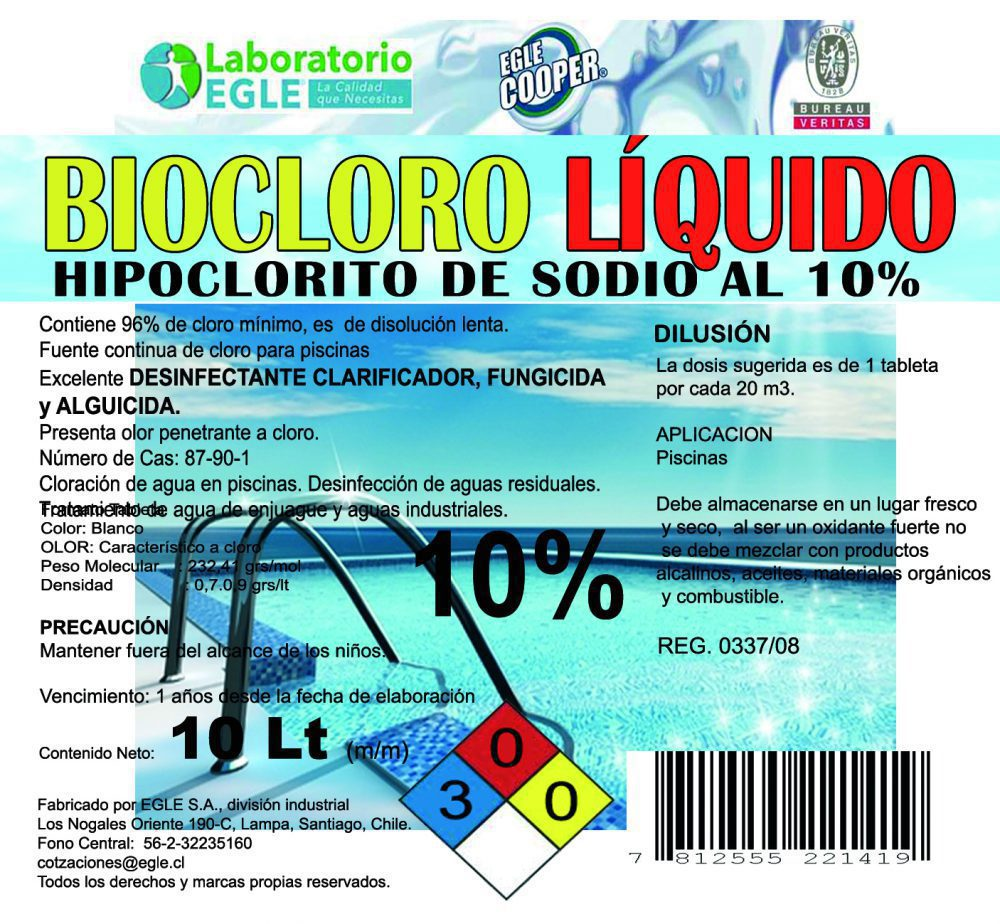 Cloro piscina biocloro 10 lt al 10 detergentes - Pastillas de cloro para piscinas ...